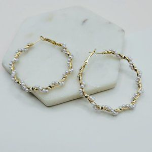 5 for $25 Faux Pearl Decorated Hoop Earrings
